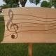 muziekstandaard met notenbalk van kersenhout